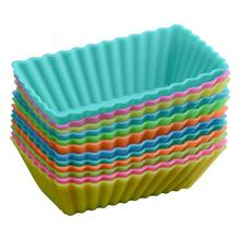 Rectangular Muffin Silicone Mold Safe Non-toxic No Smell Cake Environmental Protection Anti Kink Deformation Baking Tool