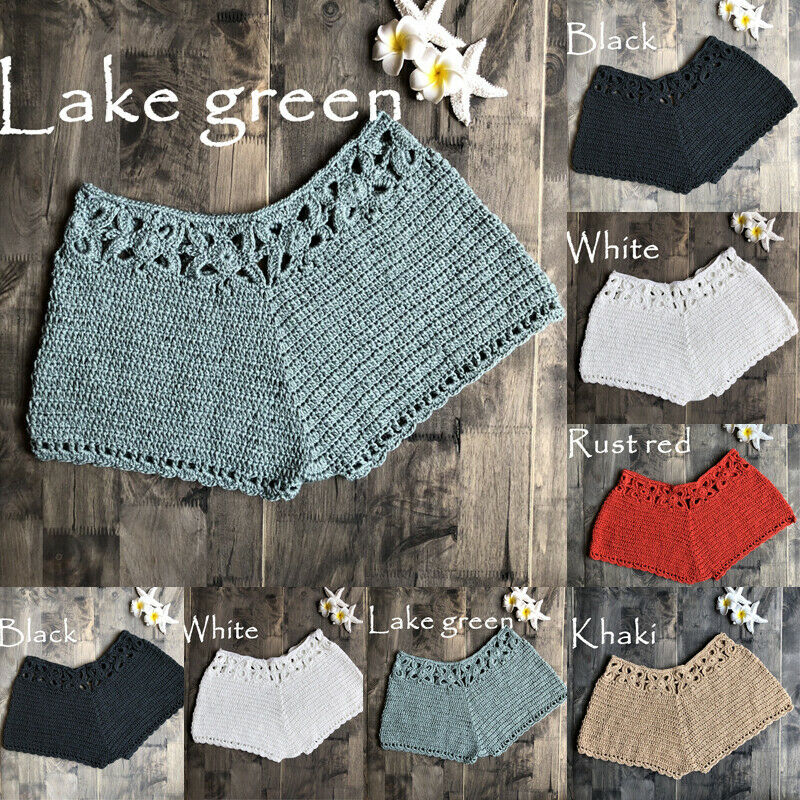 2019 New Fashion Women's Sweet Cute Crochet Tiered Beach Style Shorts Skorts Short Pants Sexy Bikini