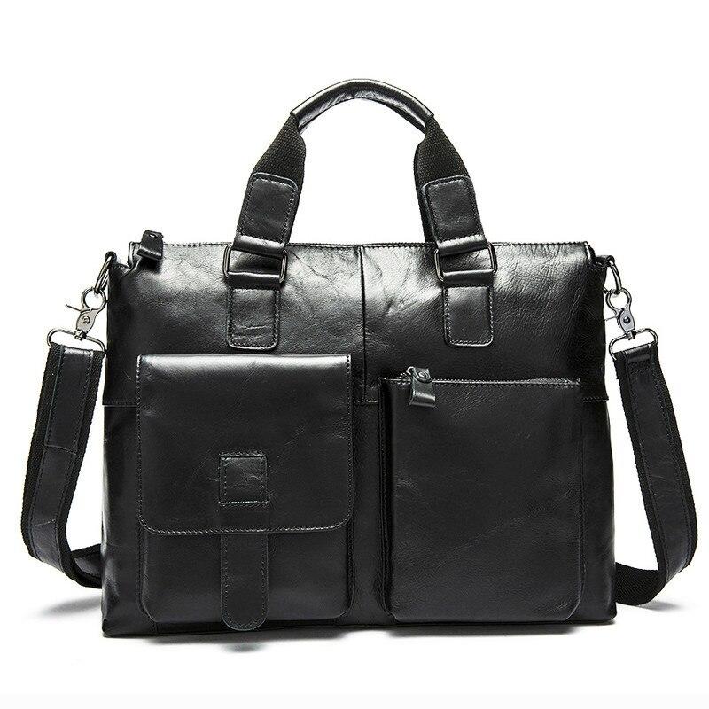 Hombre 14 portátil bolsos de bandolera bolsa de hombres para hombres de cuero maletín abogado de los hombres de negocios maletines de cuero genuino de los hombres de la bolsa-in Carteras from Maletas y bolsas    2