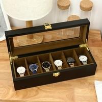 6 Slots Watch Box Organizer Display Case Wood Luxury Glass Top Wristwatch Box Jewelry Storage For Clock Watches Jewellry Boxes