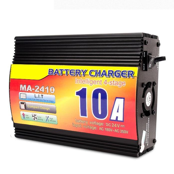 24v 10a carregador de bateria acidificada ao chumbo com indicador atual da carga, carregador de bateria inteligente do caminhão de 4 fases - 1