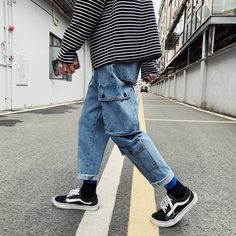 2018 Men's Black/blue Color Casual Cargo Pocket Straight Pants Fashion Baggy Male Jeans Biker Denim High-quality Trousers M-2XL