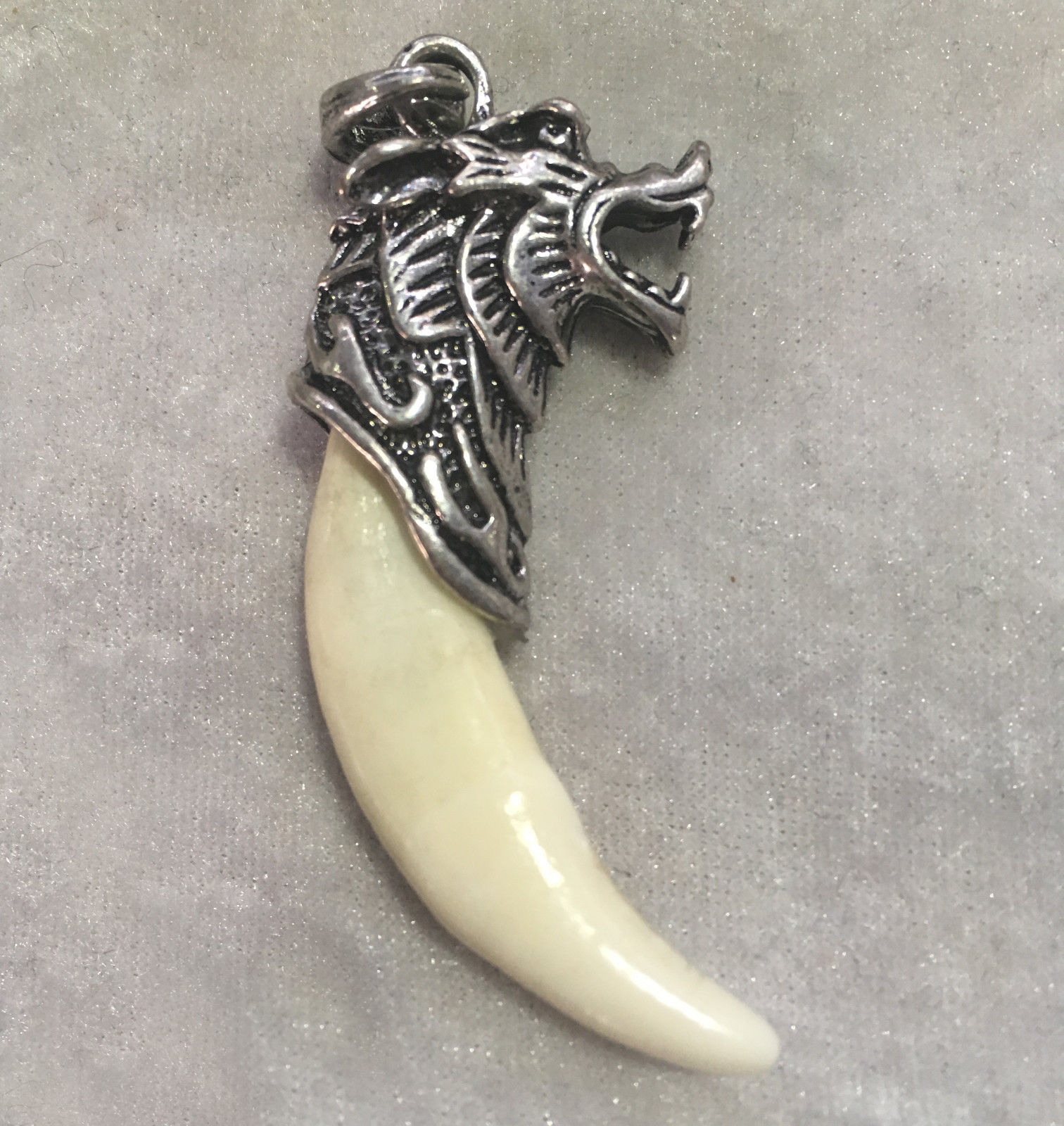 Chinese archaize Boars Tooth Wild Hog Silver Dragon protective talisman Pendant