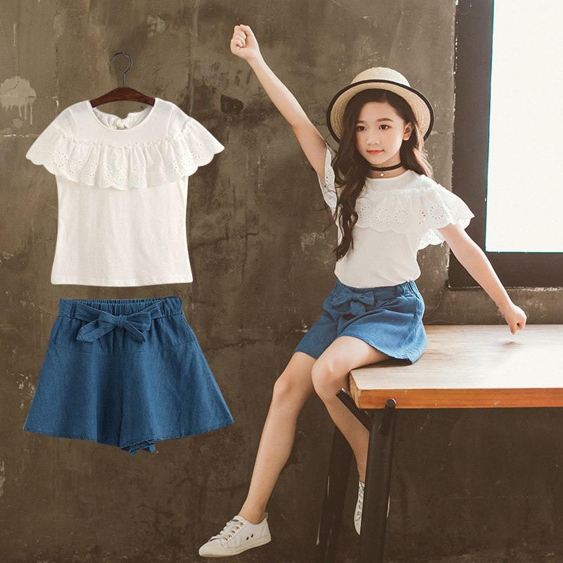 Girls suit summer new casual sportswear T shirt denim skirt suit children 39 s clothing in Clothing Sets from Mother amp Kids