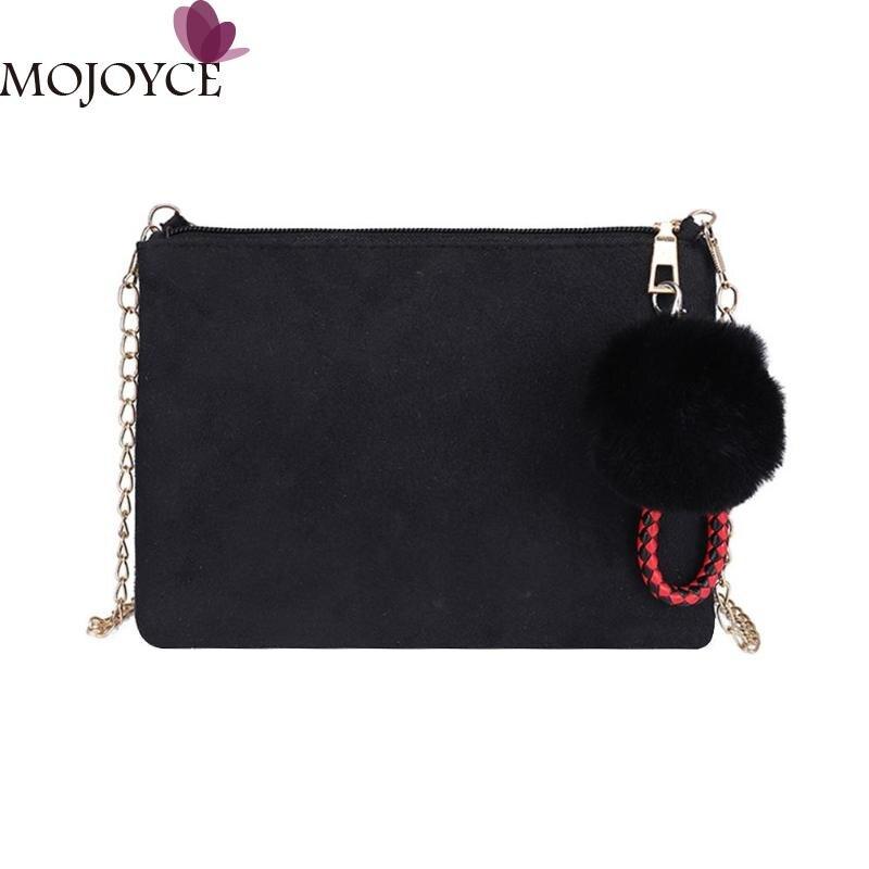 все цены на Elegant Classic Women Scrub Bags Ladies PU Leather Envelope Clutch Handbag Chain Messenger Bag Pompom Ball Crossbody Bags 2018