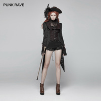 PUNK RAVE Womens Gothic Jackets Burgundy Red Jacquard Tailcoat Vintage Stage Performance Club Party Swallow Tail Women Coats