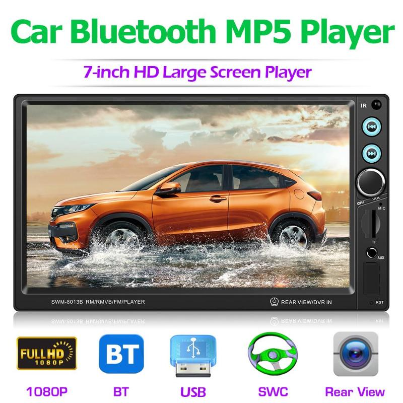 <font><b>T8013</b></font> 7 Inch Car Stereo MP5 Player Bluetooth FM Radio USB AUX with Camera Auto Reversing Video Audio Player with Brake Reminder image