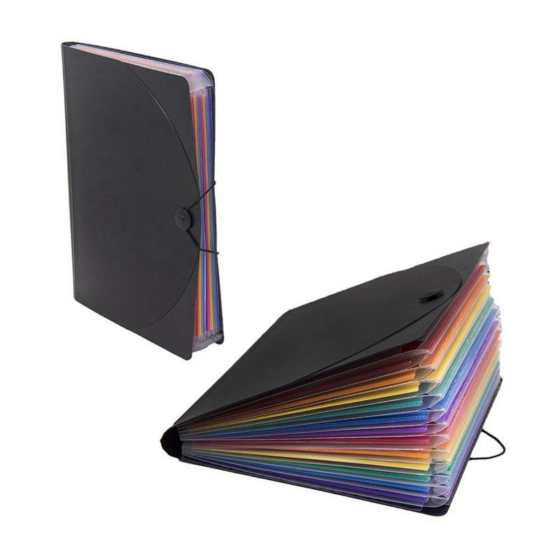 12 Pocket Expanding Files Folder/ A4 Expandable File Organizer/ Portable Accordion File Folder/ High Capacity Multicolour Stan