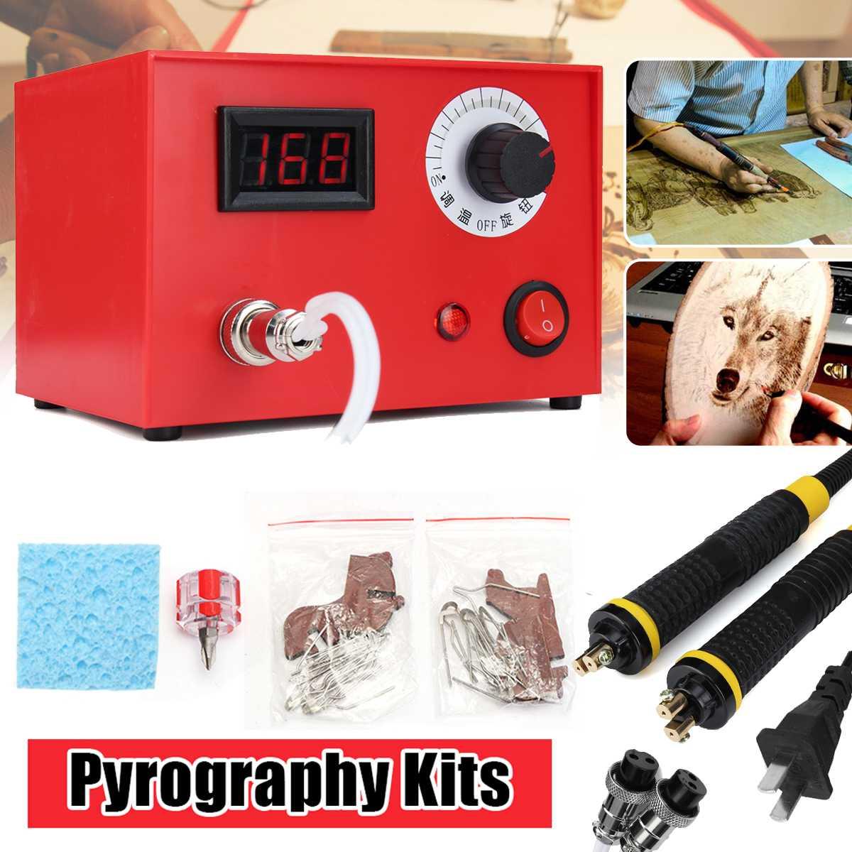 220 V 50 W 2 pièces pyrogravure stylo multifonction pyrogravure Machine gourde bois brûlant stylo artisanat trousse à outils nous Plug
