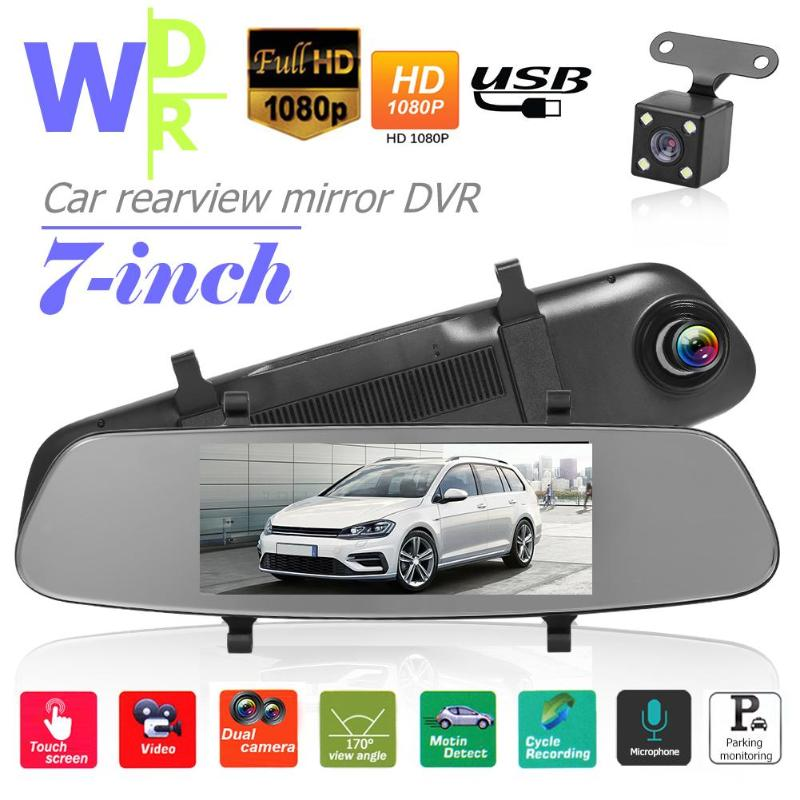 7inch Screen Car DVR Loop Recorder + Dual Lens Night Vision WDR DashCar Camera FHD 1080P Rearview mirror Dash Cam Record Box