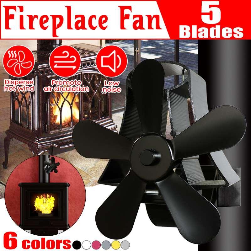 5 Blade Heat Fireplace Fan Wall Hanging Stove Fan Powered Stove Fan Komin Wood Burner Eco Friendly Quiet Fan Heat Distribution