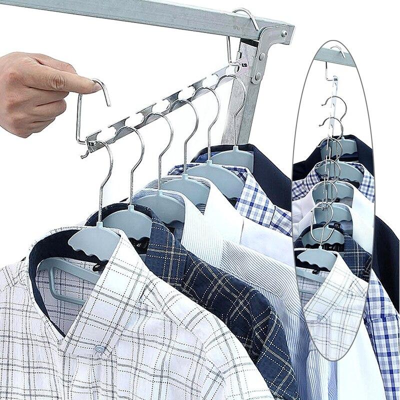1 Adet Dolap Dolap Giyim Organizator Elbise Kurutma Rafi Kanca Ile Cok Fonksiyonlu Metal Elbise Dolap Askilari Yerden Tasarruf