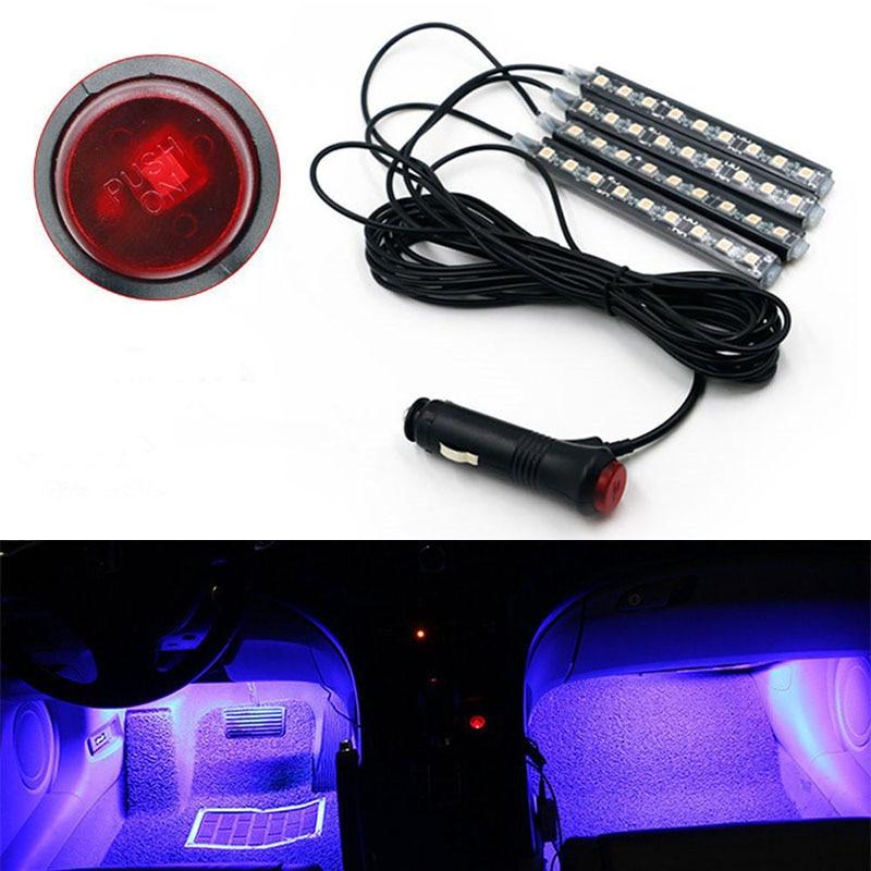 Led Lighting 4pcs/set 9led Car Charge Interior Foot Floor Atmosphere Light Strip Lamp Blue Less Expensive