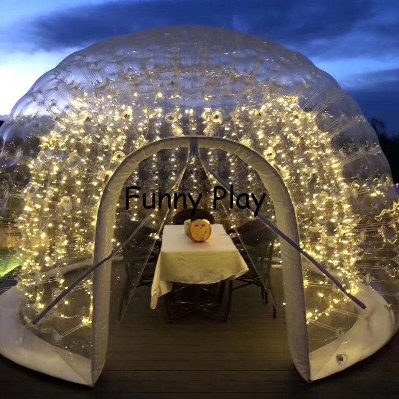 Tente de camping étanche à l'air gonflable demi maison de bulle noire claire pour la location d'hôtel, publicité d'arrière cour de Camping de famille - 5