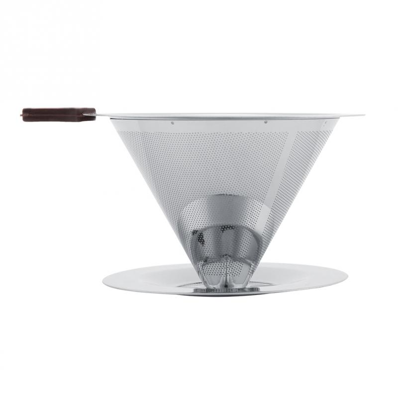 EECOO Stainless Steel Coffee Filter Reusable Double Layer Brew Dripper with Cup Stand Coffee Filter