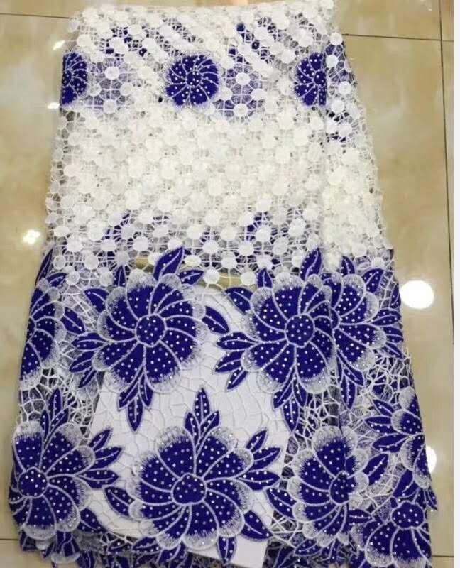 Blue white New Design African Cord Lace Fabric 2018 Swiss Voile Lace Embroidered French Mesh Lace