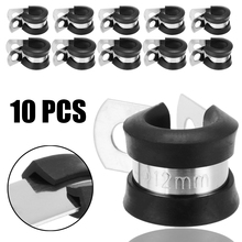 10Pcs 13mm P Clips Rubber Coated Stainless Steel Clamp Tube Pipe Cable Mounting Bracket Fastener