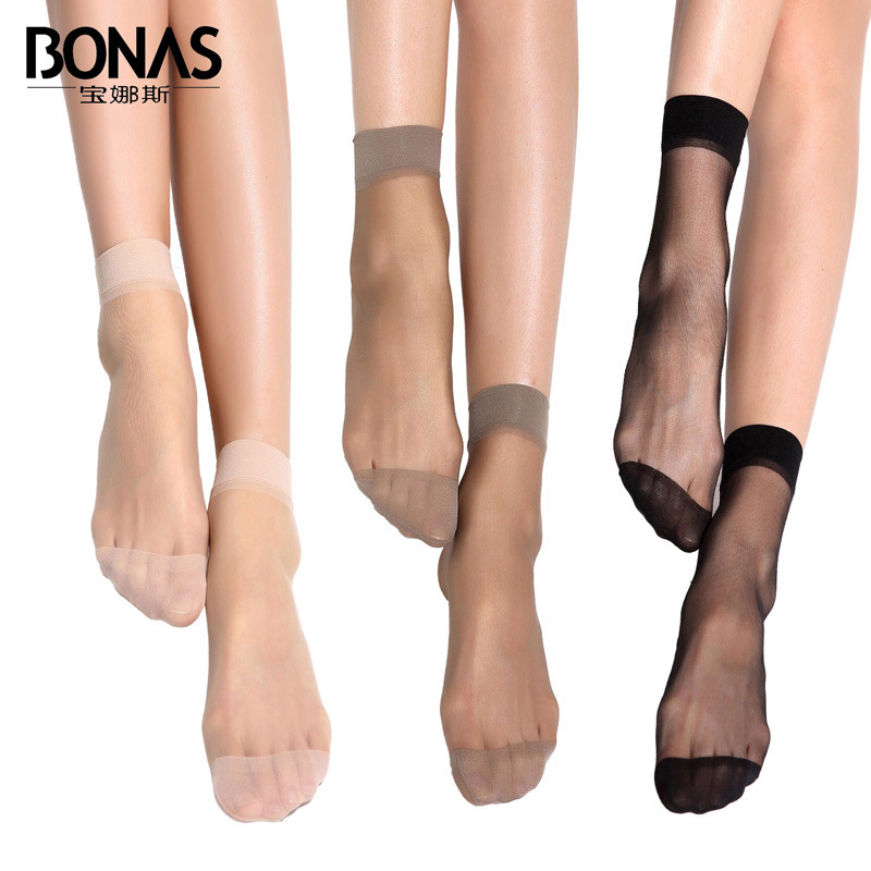 Bao Na Short Paragraph Socks Woman Transparent Crystal Silk Stockings Summer 5d Thin Section Sweat Absorption Invisible Socks