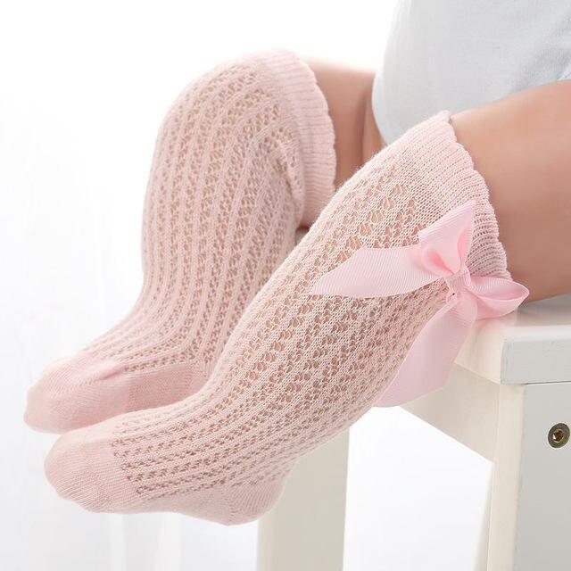 BalleenShiny Baby Girl Socks Toddler Baby Bow Cotton Mesh Breathable Socks Newborn Infant Non-slip Baby Girls Socks 0-3 years 3