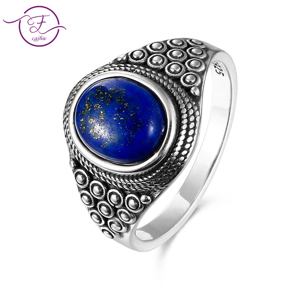 925 Sterling Silver For WomenNew Vintage Fine Jewelry 8X10MM Lapis Oval RingsAnniversary GiftsR327L-5