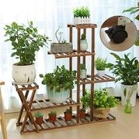 Wooden Garden Planter Nursery Pot Stand Shelf Plant Flower Pot Stand Indoor Outdoor Garden Decoration Gifts Tools With Wheels