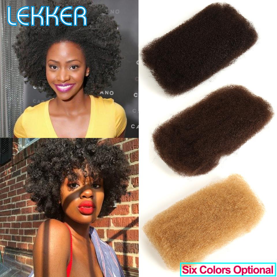Lekker Hair Brazilian Remy Human Hair Afro Kinky Curly Hair Bulk Extensions Braiding Hair Dreadlocks Crochet Bulks 50g Per PCS(China)