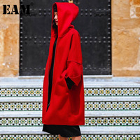 WKOUD EAM 2018 New Autumn Winter Fashion Woman Red Hooded Collar Long Sleeve Double faced Wool Coat Simple All match SC505