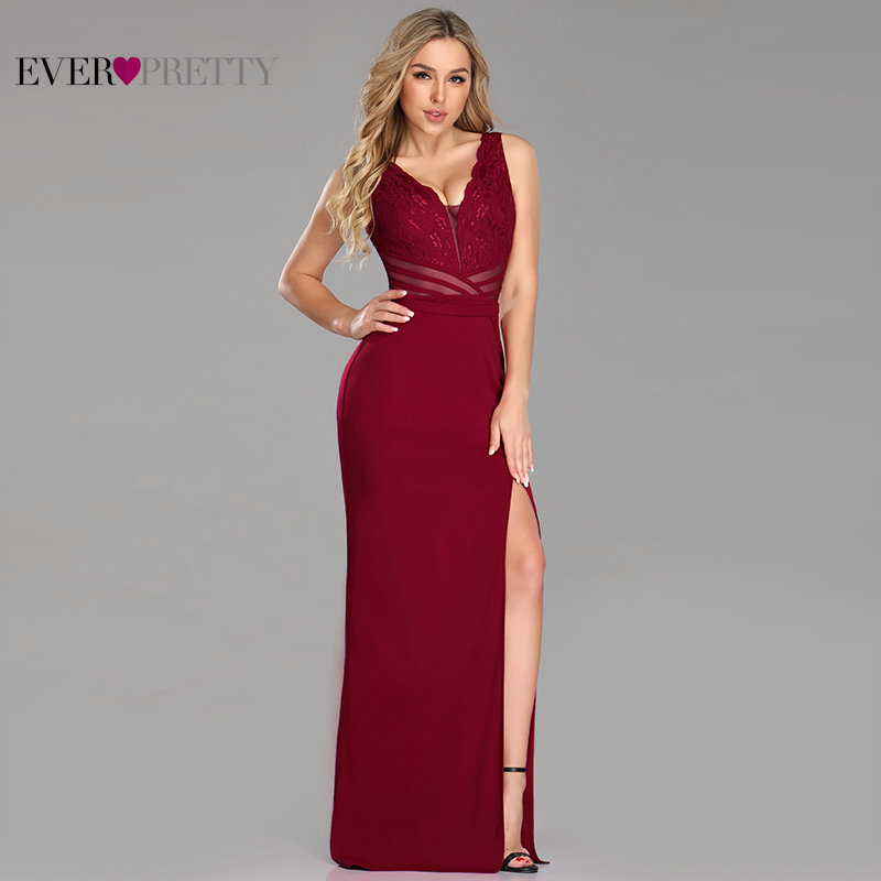 Evening Dresses Long Ever Pretty EZ07785 Sexy Leg Slit Straight Lace See-through V-neck Formal Party Gowns 2019 Abendkleider
