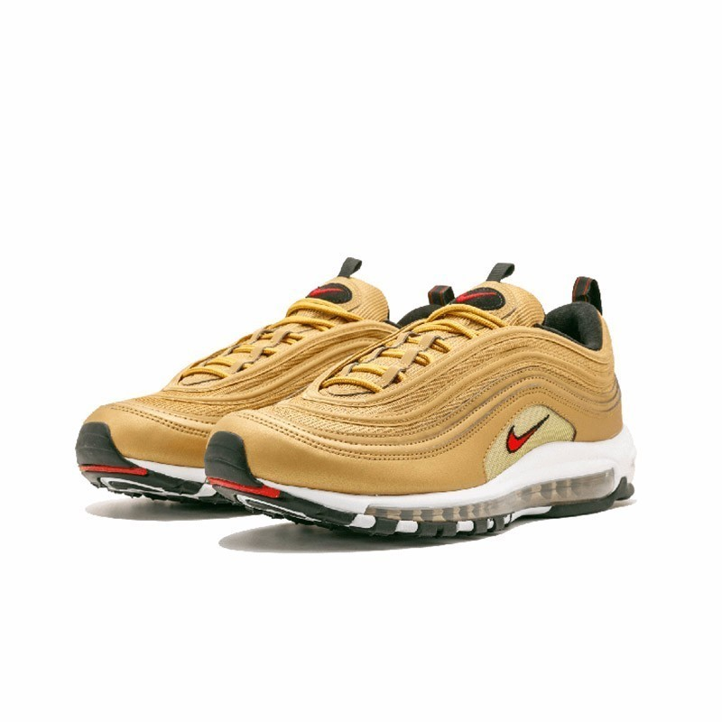 Nike Air Max 97 Og Qs New Arrival Men's Breatheable Running Shoes Tamping Gold And Silver Bullet Sneakers #884421 001700