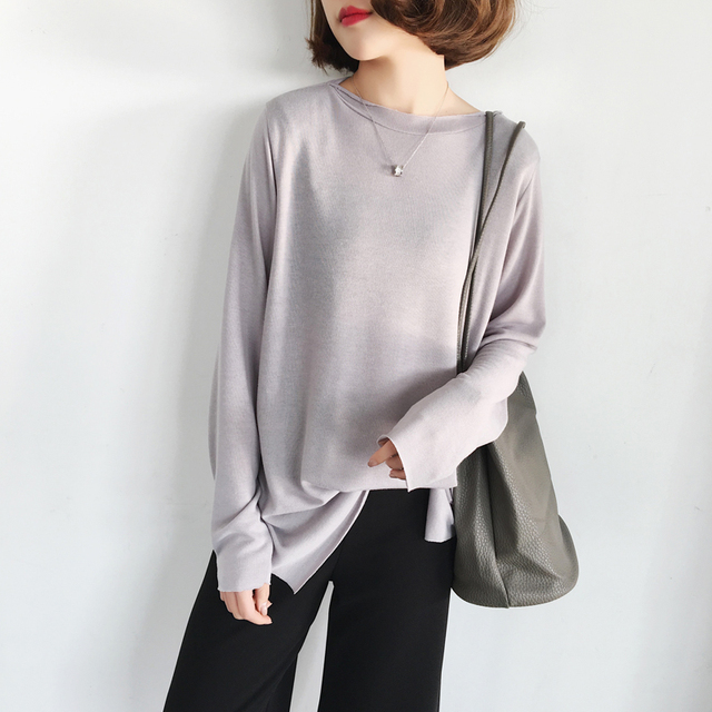 e19bf6d8756 Spring Korean Version of The Simple Wild Loose Word Collar Solid Color  Long-sleeved T-shirt Female Thin Section Bottoming Shirt