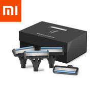 XIAOMI 4pcs Cutter Heads Sharp Shavor Dry Wet Shaving Washable Blade Manual Beard Shaving Magnetic Replaceable Shaver Blade Clip