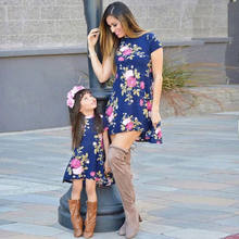 Family Matching Dress Mother Daughter Floral Dresses Short Sleeve Flower Sundress for Kid Women Loose Clothes(China)