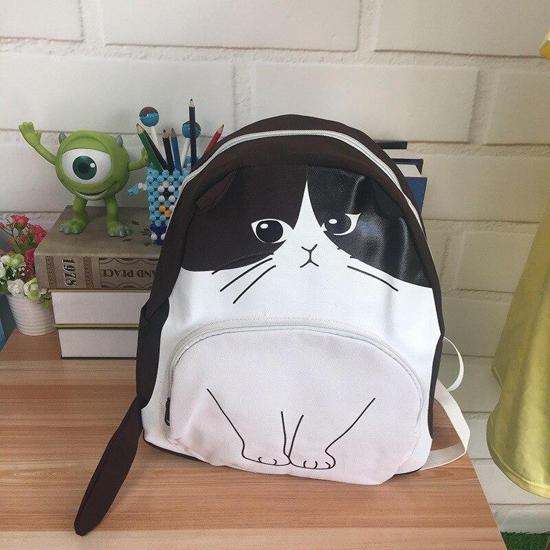 Designer Harajuku Printing Cat Ear Black White Canvas Backpack School Notebook Bag Teens Girl Rucksacks Mochila