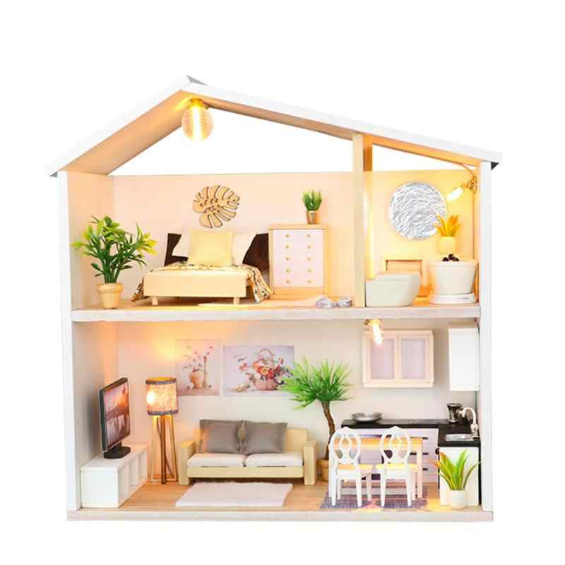 Baby Handmade Dollhouse Toy Creative Warm Bedroom Doll House Miniature DIY Furniture Wood Dollhouse Toys cute Home Decor