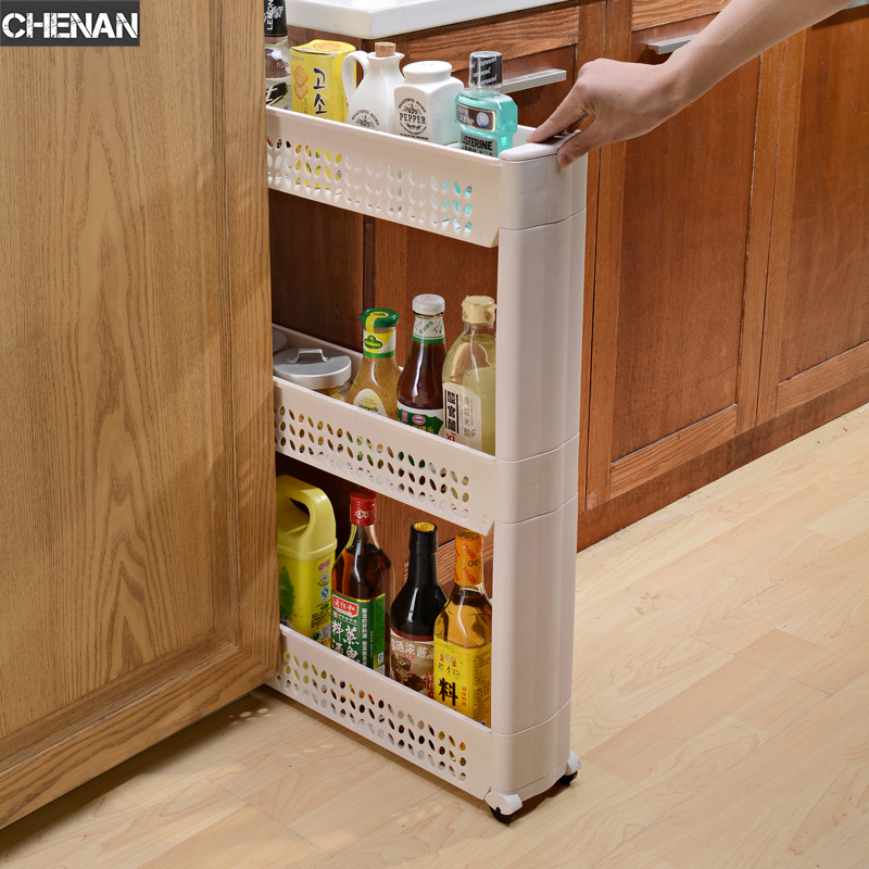 Movable Plastic Interspace Storage Rack Refrigerator Space with Roller Shelves Kitchen Bathroom Strollers Gap