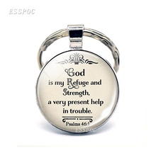 God Is My Refuge and Strength, A Very Present Help In Trouble Key Chain Glass Cabochon Jewelry Bible Verse Rings