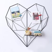 Ins Style Metal Grid Wall Photos Heart-shaped Grids Postcards Mesh Frame Home Bedroom DIY Decoration Iron Storage Rack 1piece все цены