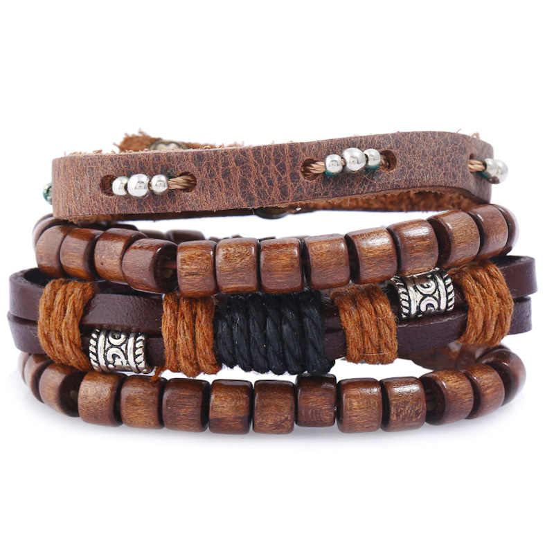 8 Stylish Types Vintage Cowhide Bracelet Handmade Varieties Lace-up Bracelet Jewelry For Male Female Charming Gift