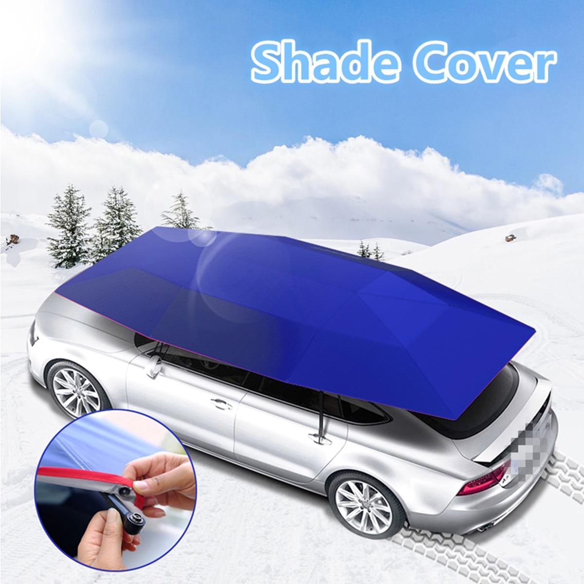Voiture parapluie soleil ombre couverture extérieure voiture véhicule tente Oxford tissu Polyester couvre 400x210 cm bleu/argent sans support