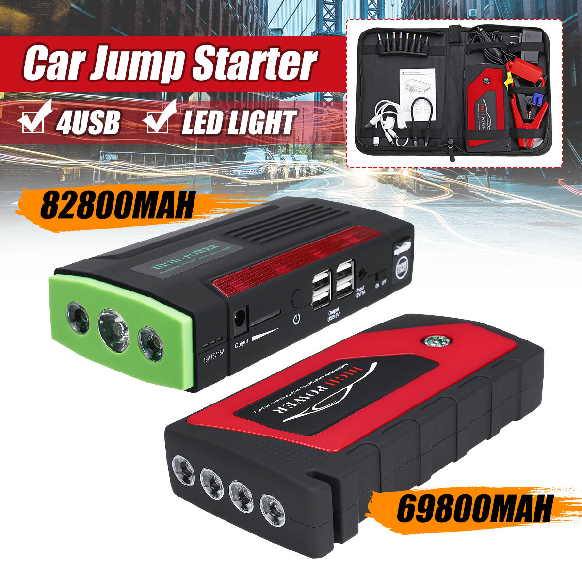 82800 mAh 4 USB Voiture Jump Starter Pack chargeur portable Booster batterie externe Battery82800mAh 4 USB Voiture J