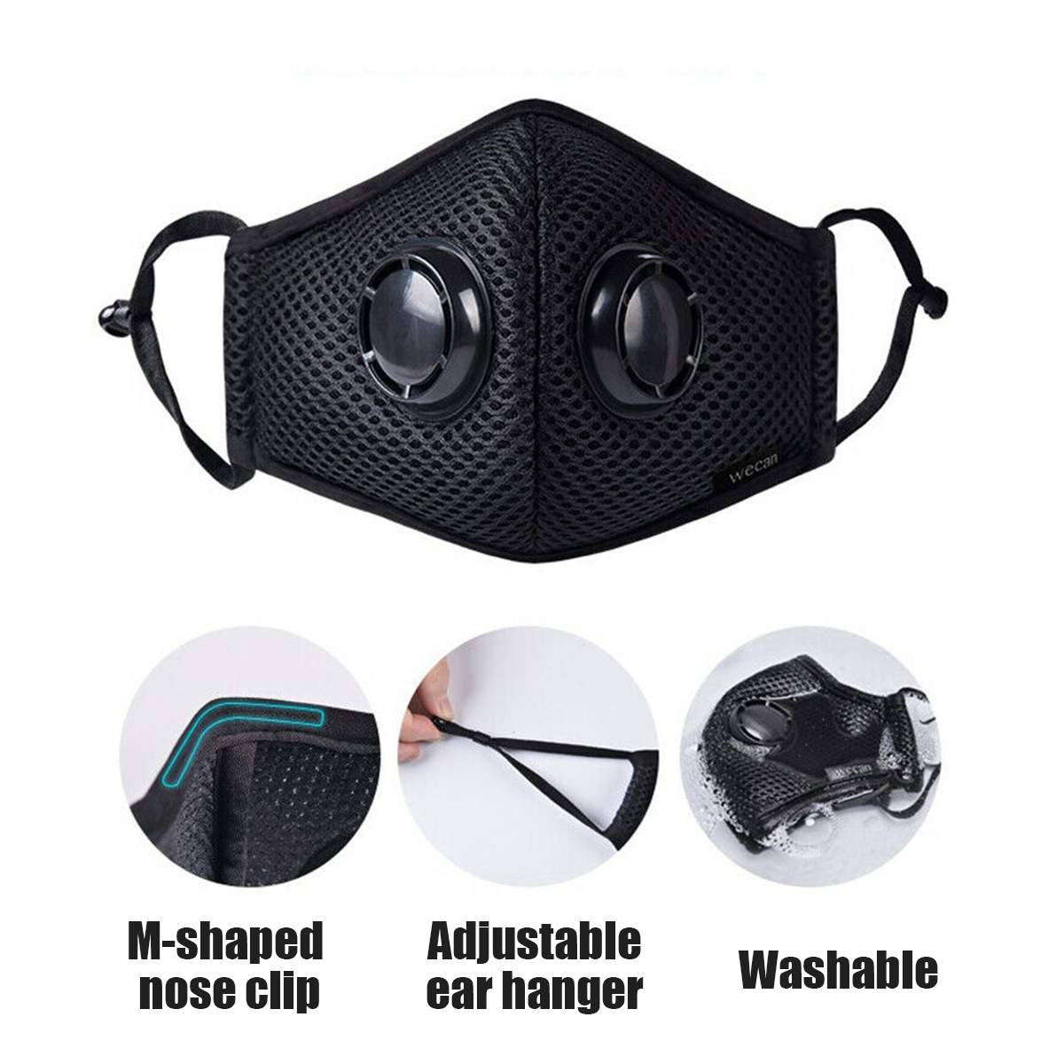 Anti Pollution Face Mask Air Filter Respirator Anti PM2.5 Dust Breathable Mouth-muffle Protective Mask Anti Pollen Allergy Men