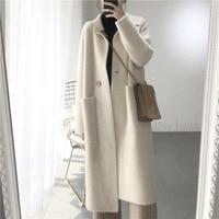 2018 Winter Woman Wool Solid Loose Coat Jacket Women Woolen Simple Coat Elegant Lady Long Blend Coats