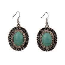 MYTHIC AGE Bohe Bohemian Drop Earrings For Women Crystal Blue Stone Vintage Fashion Jewelry