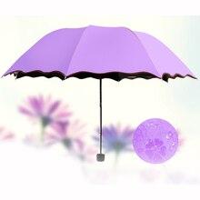 Simple Fashion Women Umbrella Windproof Sunscreen Magic Flower Dome Ultraviolet-proof Sun Rain Folding Umbrellas