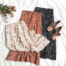 2019 Summer Spring Women A-Line Chiffon Skirts High Waist Floral Print Midi Skirts Printed Skirt