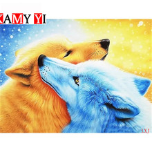 5D DIY Diamond embroidery the ice Wolf and fire Mural cross-stitch diamond mosaic home decoration painting LXJ