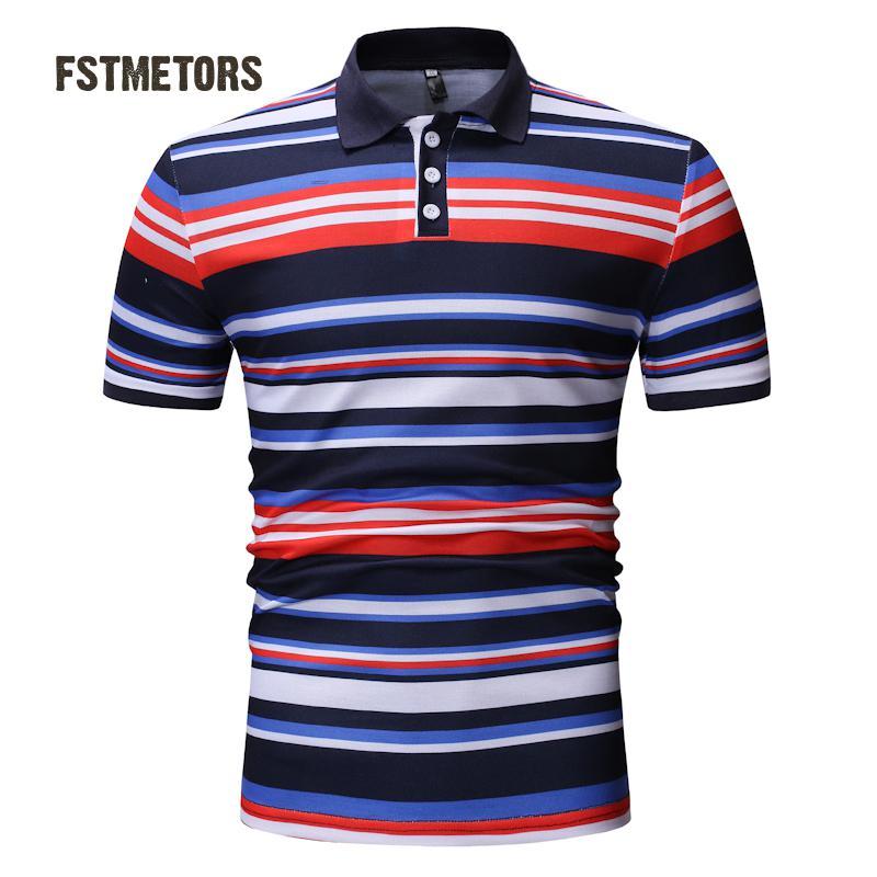2018 men's   Polo   shirt fashion casual color anti-pilling print Slim personality short-sleeved sports   POLO   shirt
