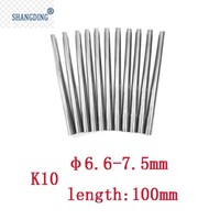 10pcs TUNGSTEN Solid Carbide Round Rod 6.6mm 7.5mm X 100mm Lathe Bar K10 machine tools accessories metal processing machinery