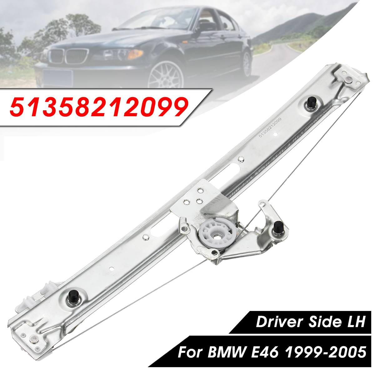 Rear Left Power Window Regulator For BMW E46 3 Series 323i 325i 325Xi 1999 - 2005 Driver Side 51358212099