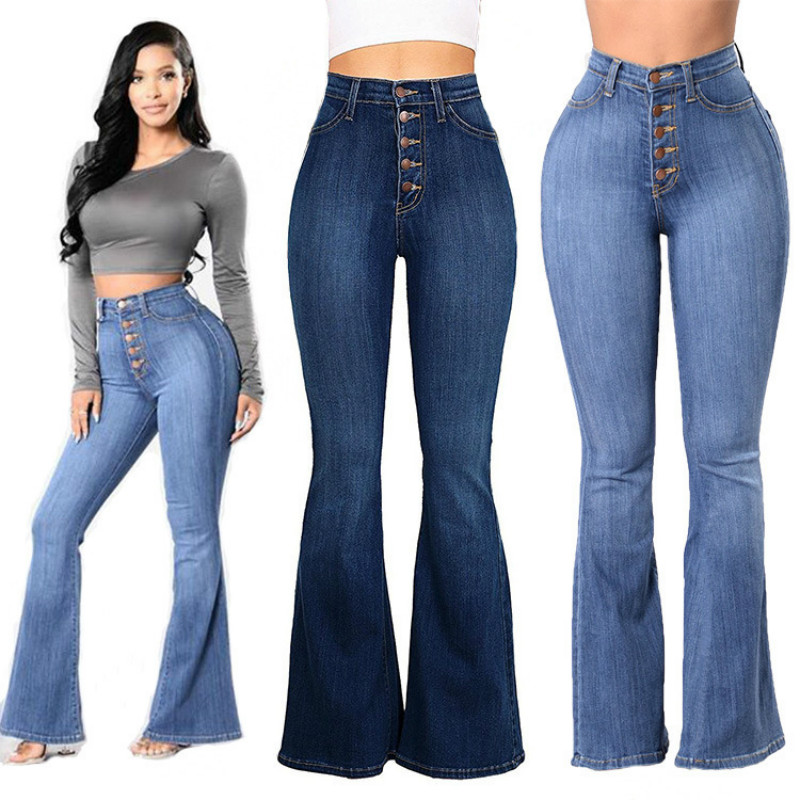 Vintage Chic Ladies Flare Jeans 2020 Spring Summer High Waist Elegant Women Push Up Bell Bottom Wide Leg Pants Plus Size 3XL 4XL